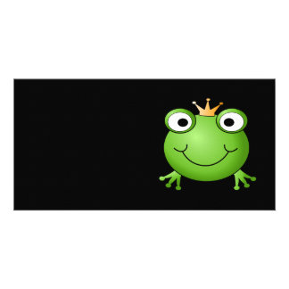 Frog Prince. Smiling Frog with a Crown. Photo Card