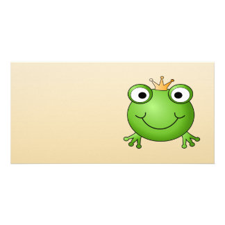 Frog Prince. Smiling Frog with a Crown. Photo Greeting Card