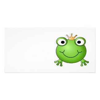 Frog Prince. Smiling Frog with a Crown. Personalized Photo Card