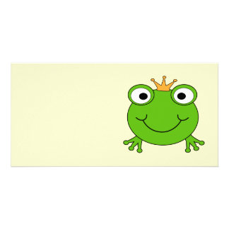 Frog Prince. Smiling Frog with a Crown. Photo Card Template