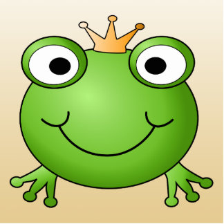 Frog Prince. Smiling Frog with a Crown. Photo Sculpture Magnet