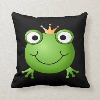 Frog Prince. Smiling Frog with a Crown. Pillow
