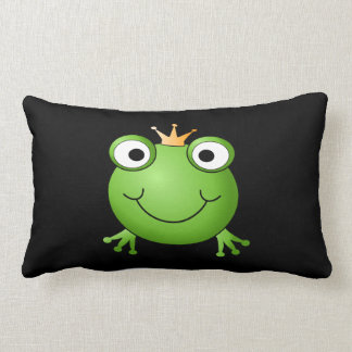 Frog Prince. Smiling Frog with a Crown. Pillows