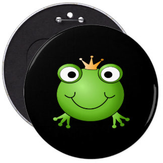 Frog Prince. Smiling Frog with a Crown. Pinback Button