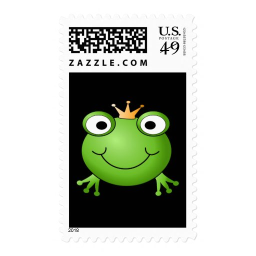 Frog Prince. Smiling Frog with a Crown. Postage Stamps