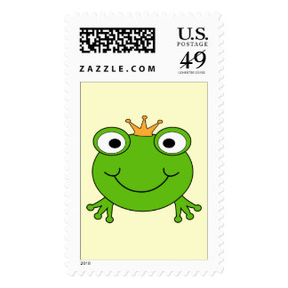 Frog Prince. Smiling Frog with a Crown. Postage