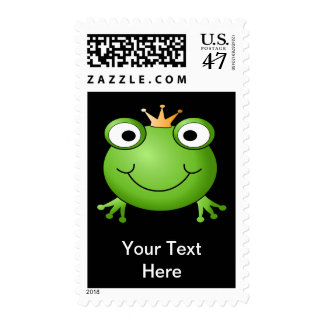 Frog Prince. Smiling Frog with a Crown. Postage Stamp