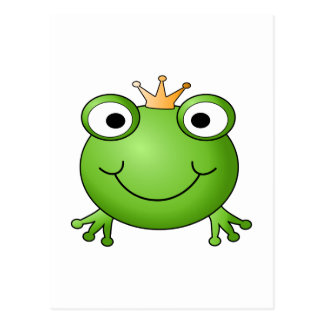 Frog Prince. Smiling Frog with a Crown. Postcard