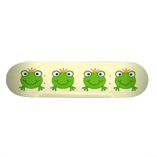 Frog Prince. Smiling Frog with a Crown. Skateboard Decks