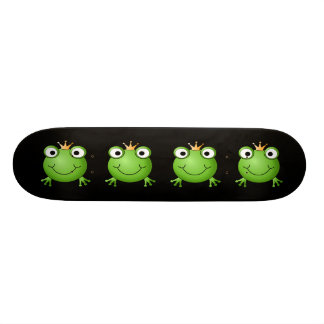 Frog Prince. Smiling Frog with a Crown. Skateboard Deck