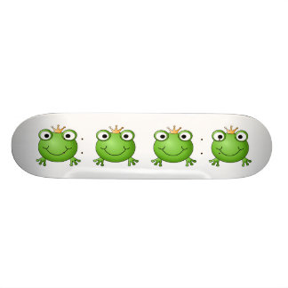 Frog Prince. Smiling Frog with a Crown. Custom Skate Board
