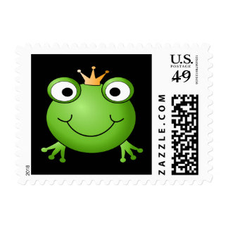 Frog Prince. Smiling Frog with a Crown. Stamp