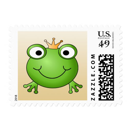 Frog Prince. Smiling Frog with a Crown. Stamps