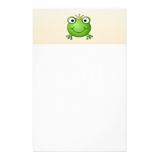 Frog Prince. Smiling Frog with a Crown. Stationery