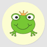 Frog Prince. Smiling Frog with a Crown. Round Sticker