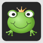 Frog Prince. Smiling Frog with a Crown. Stickers
