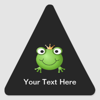 Frog Prince. Smiling Frog with a Crown. Triangle Sticker