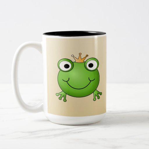 Frog Prince. Smiling Frog with a Crown. Two-Tone Coffee Mug