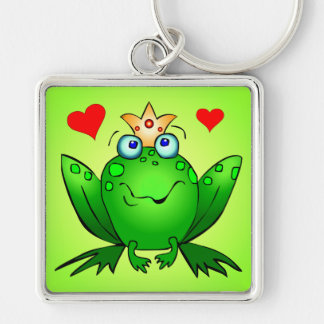 Frog Prince Square Keychain with Hearts