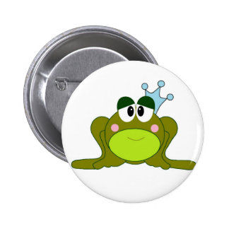 Frog Prince With Blue Crown Cartoon 2 Inch Round Button