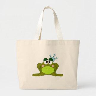 Frog Prince With Blue Crown Cartoon Jumbo Tote Bag