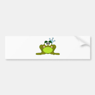 Frog Prince With Blue Crown Cartoon Bumper Sticker