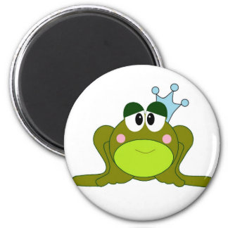 Frog Prince With Blue Crown Cartoon 2 Inch Round Magnet
