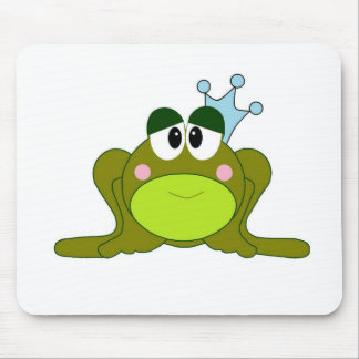 Frog Prince With Blue Crown Cartoon Mouse Pads