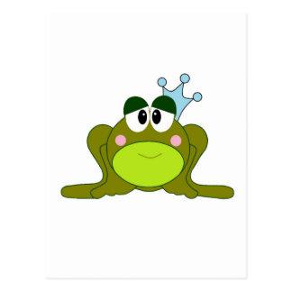 Frog Prince With Blue Crown Cartoon Postcard