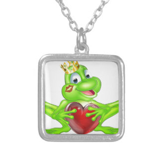 Frog prince with crown and heart square pendant necklace
