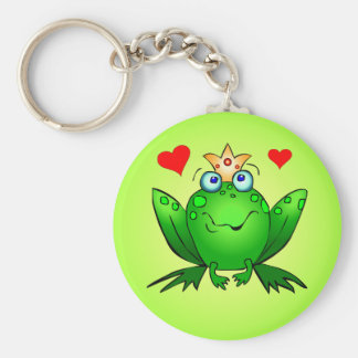 Frog Prince with Hearts Green Keychain