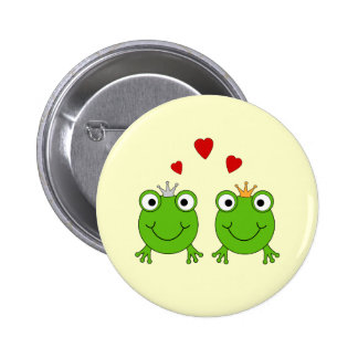 Frog Princess and Frog Prince, with hearts. 2 Inch Round Button