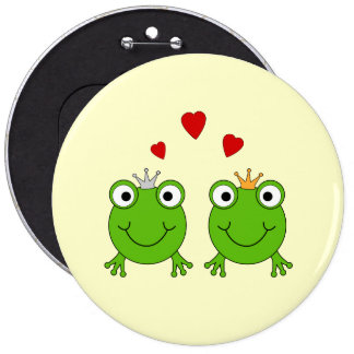 Frog Princess and Frog Prince, with hearts. 6 Inch Round Button