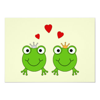 Frog Princess and Frog Prince, with hearts. Card