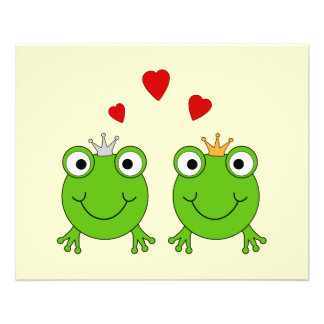 "Frog Princess and Frog Prince, with hearts. 4.5"" X 5.6"" Flyer"