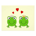 Frog Princess and Frog Prince, with hearts. Custom Invitations