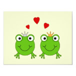 Frog Princess and Frog Prince, with hearts. 4.25x5.5 Paper Invitation Card