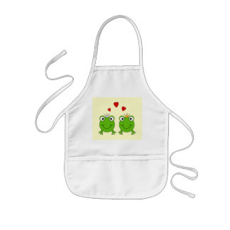 Frog Princess and Frog Prince, with hearts. Kids' Apron