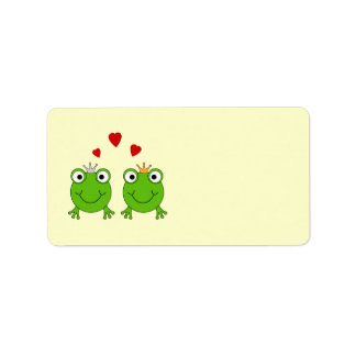 Frog Princess and Frog Prince, with hearts. Label