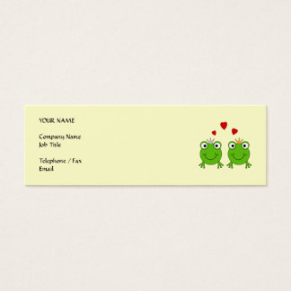 Frog Princess and Frog Prince, with hearts. Mini Business Card
