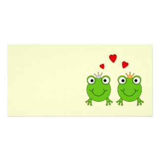 Frog Princess and Frog Prince, with hearts. Personalized Photo Card