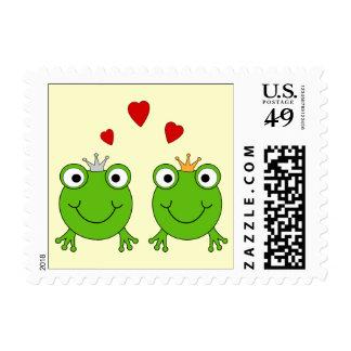 Frog Princess and Frog Prince, with hearts. Stamp