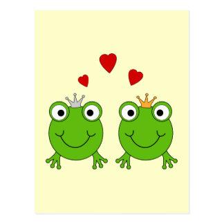 Frog Princess and Frog Prince, with hearts. Postcard