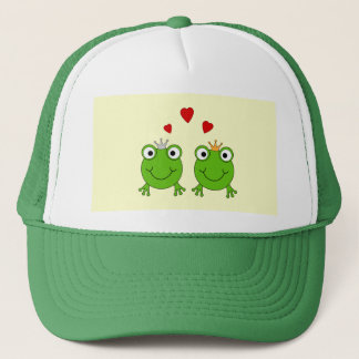 Frog Princess and Frog Prince, with hearts. Trucker Hat