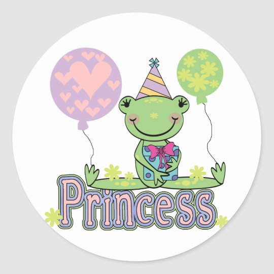 Frog Princess Birthday Tshirts and Gifts Classic Round Sticker