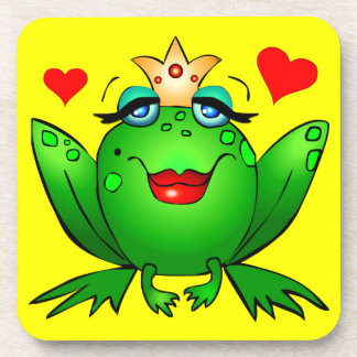 Frog Princess Cheerful Cartoon Frog Coasters