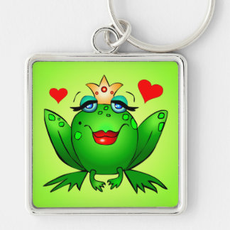 Frog Princess Crown and Hearts Green Keychain