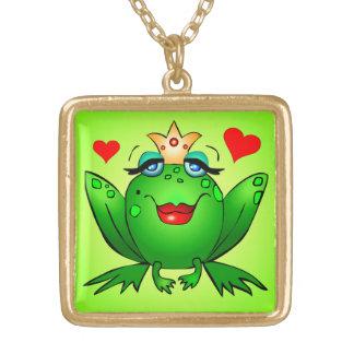 Frog Princess Hearts Cute Green Cartoon Square Pendant Necklace