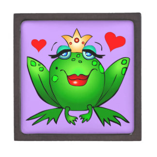 Frog Princess Hearts Green Lady Frog Purple Jewelry Box