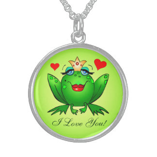 Frog Princess I Love You Green Cartoon Frog Hearts Sterling Silver Necklace